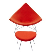 George Nelson Red Coconut Chair and Ottoman